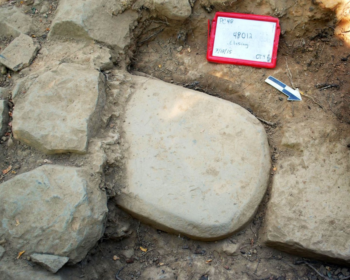 The Etruscan stele was discovered embedded in the foundations of a monumental temple where it had been buried for more than 2,500 years. Credit: Mugello Valley Project