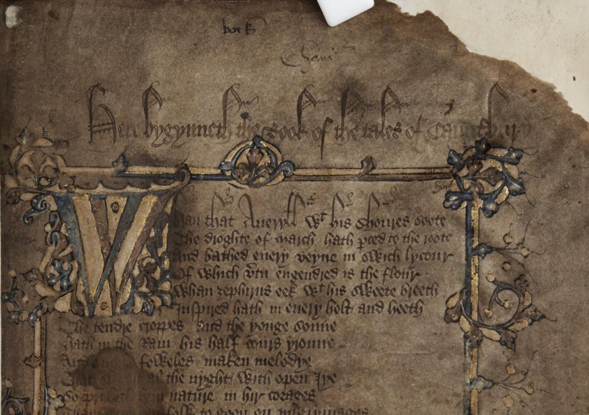A dragon-shaped watermark can be seen on the fold between the sheets of this medieval manuscript, giving clues about where the paper was made and used (credit: Cambridge University Library).