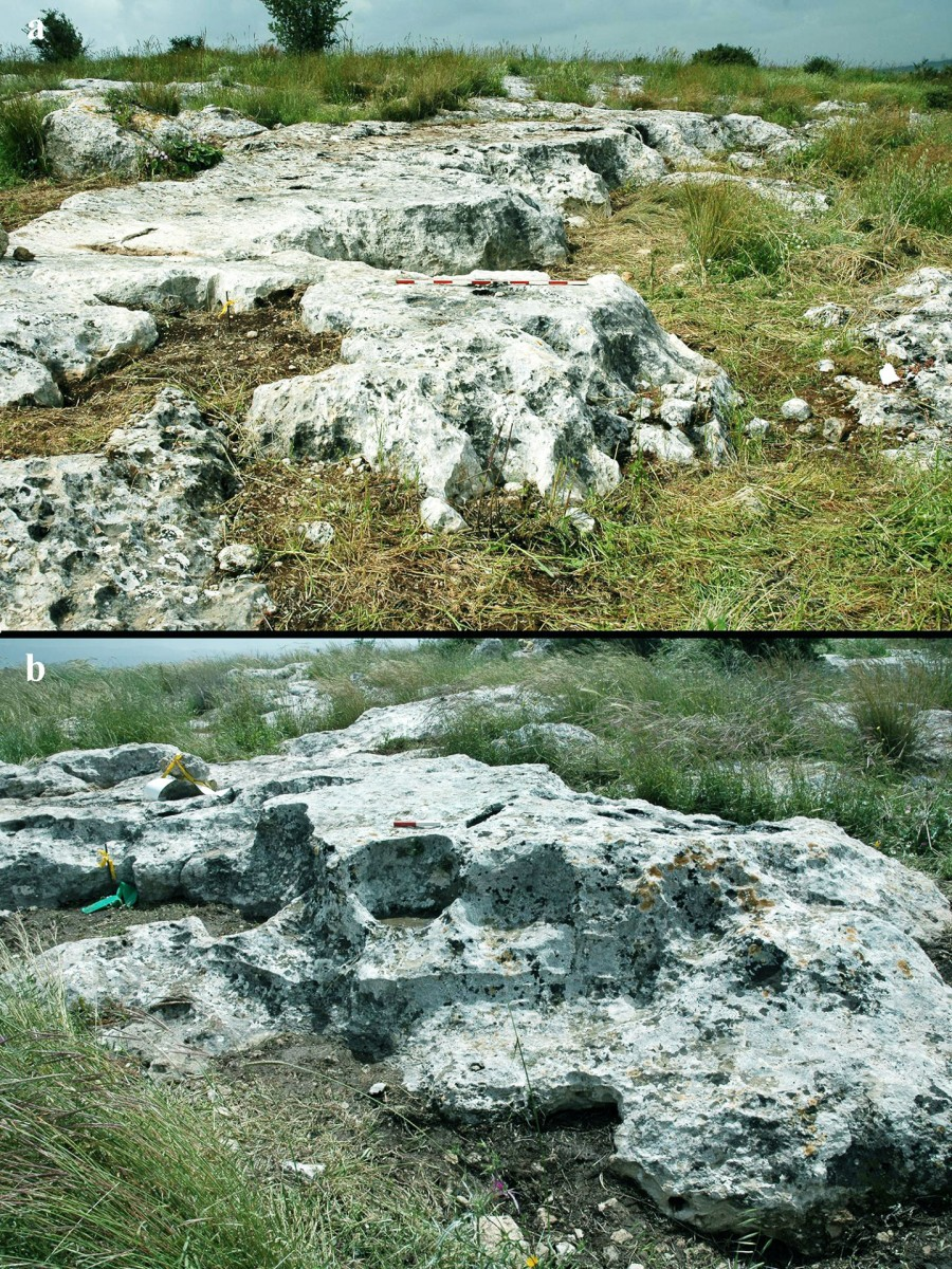 Step-like morphology of the quarrying front on the rocks. Credit: Gabi Laron.