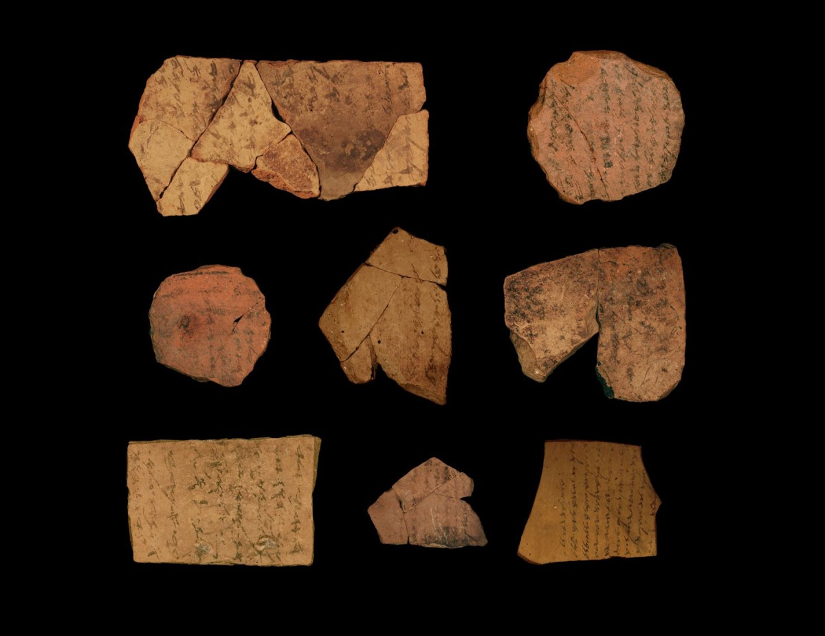 Ostraca (ink inscriptions on clay) from the Iron Age Fortress of Arad, located in Arid Southern Judah. Credit: Michael Cordonsky. (PHOTOGRAPHER), TEL AVIV UNIVERSITY AND THE ISRAEL ANTIQUITIES AUTHORITY