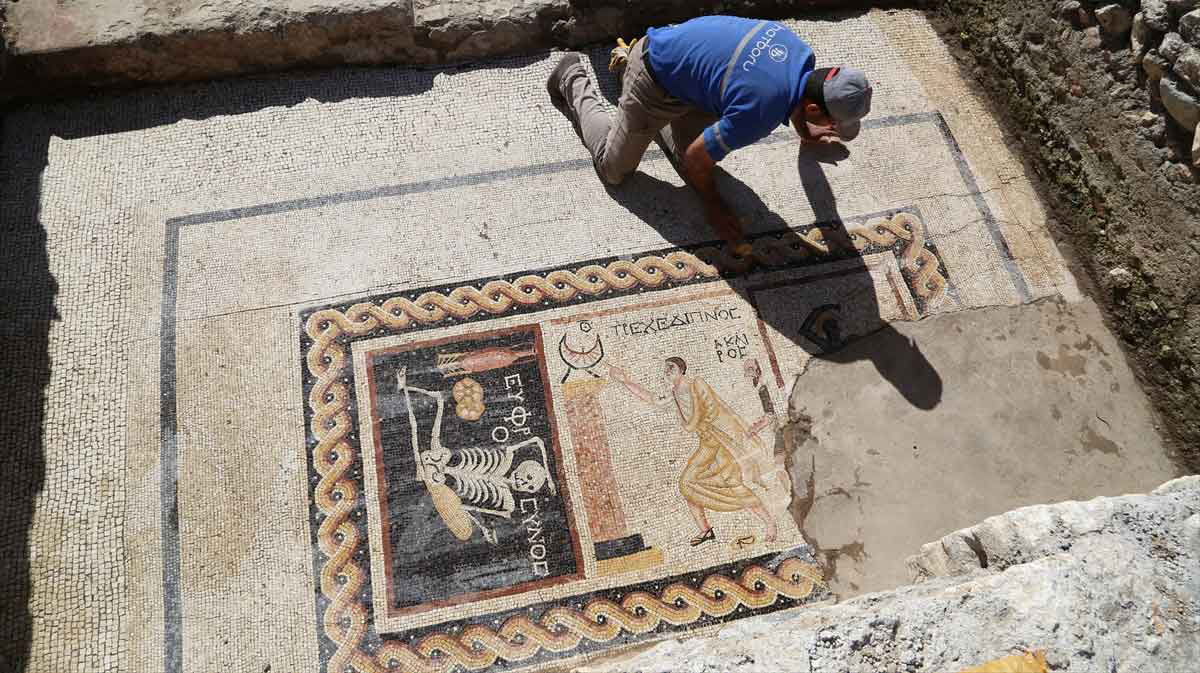 The mosaic, which dates from the 3rd century BC, was first discovered in 2012,  when municipality was carrying out work to build a cable car in Antakya  and found ancient remains. Photo Credit: AA/Archaeology News Network.