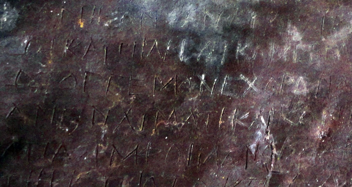 Written in Greek, the curse on this lead tablet targets Demetrios and Phanagora who were husband-and-wife tavern keepers who lived in Athens around 2,400 years ago. Photo Credit: Jessica Lamont/Live Science.