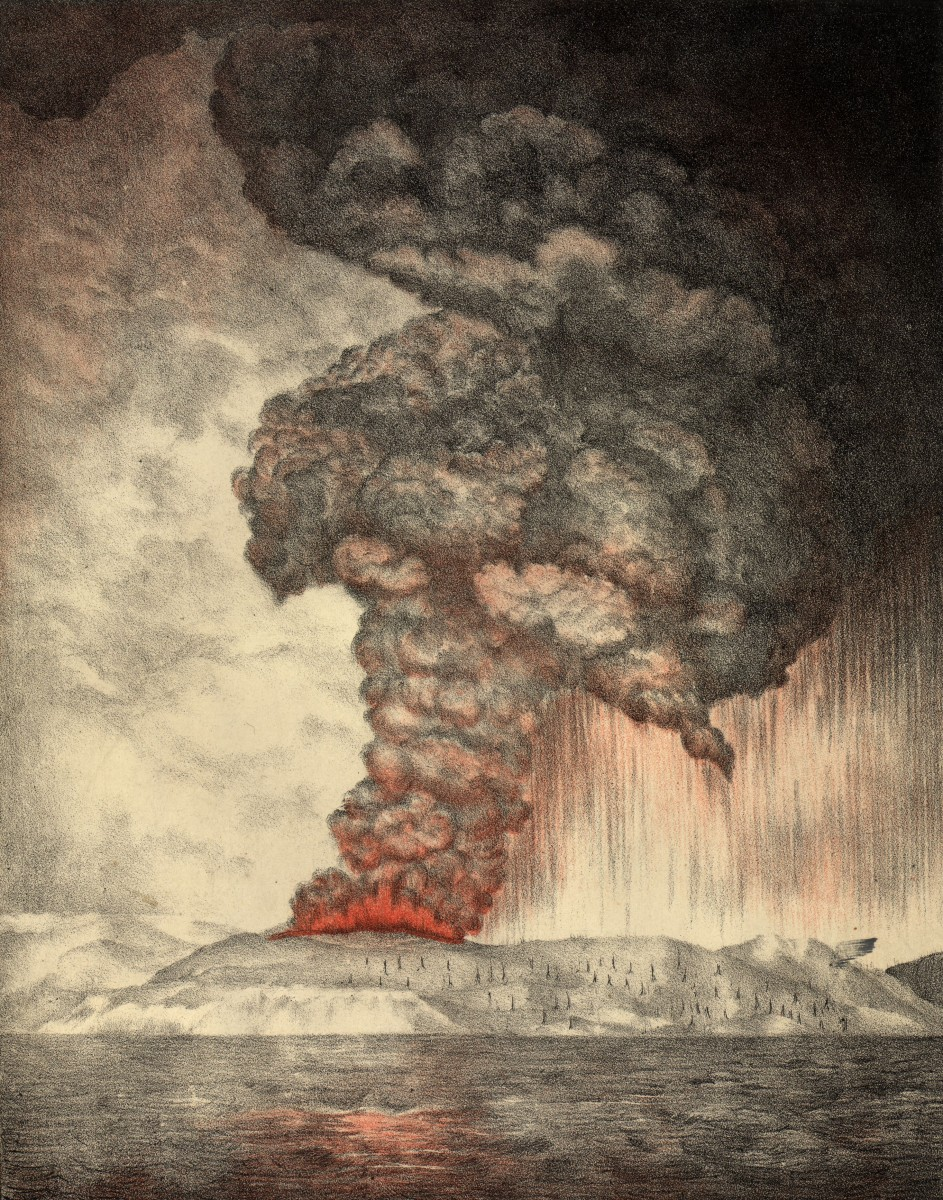 27th May 1883:  Clouds pouring from the volcano on Krakatoa (aka Krakatau or Rakata) in south western Indonesia during the early stages of the eruption which eventually destroyed most of the island.  Royal Society Report on Krakatoa Eruption - pub. 1888 Lithograph  - Parker & Coward  (Photo by Hulton Archive/Getty Images).