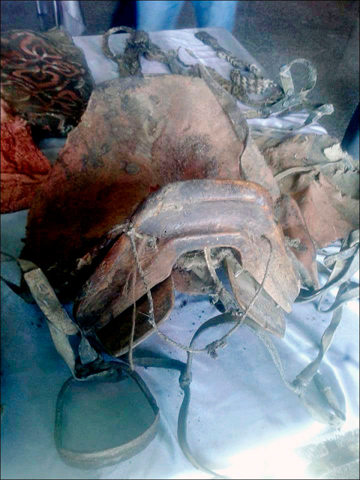 Among the artefacts found inside the grave was a saddle. Photo Credit: Khvod Museum/Siberian Times.