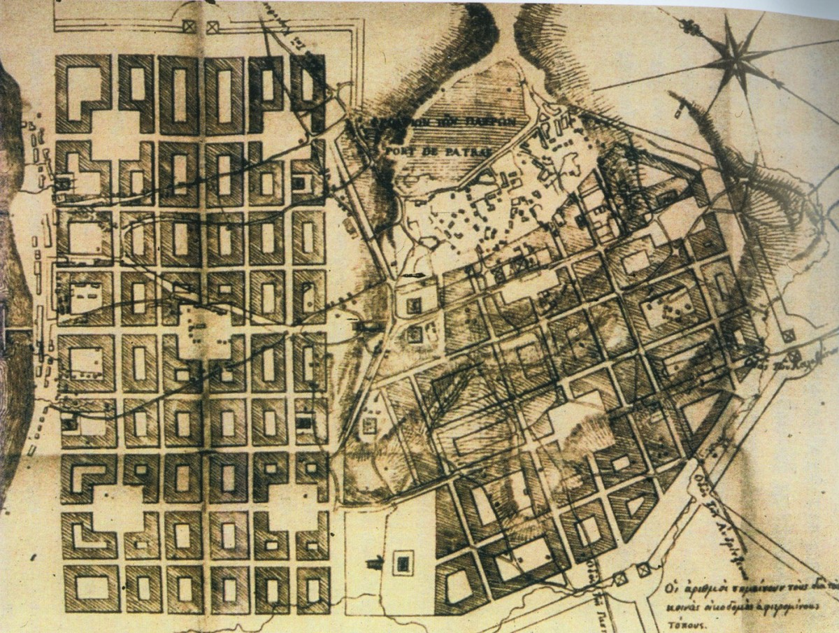 Fig. 12. Stamatis Voulgaris urban plan of the city of Patras in 1829.