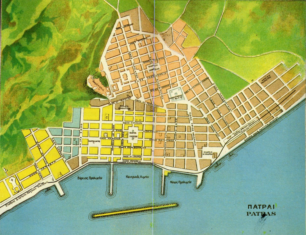 Fig. 31. Patras, urban plan on a postcard, A.B. Pascha.