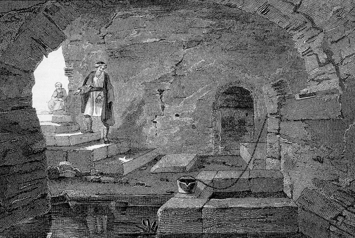 Fig. 7. Sacred spring of Demeter, Holy water of St Andrew, Edward Dodwell, A Classical and Topographical Tour through Greece, London 1819. Library ΙΒΕ ΙΝΕ / ΕΙΕ.
