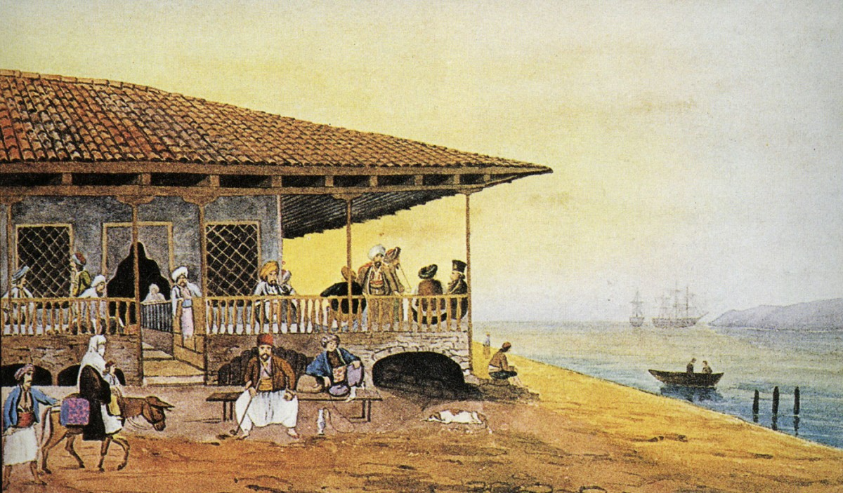 "Fig. 9. Patras. Seaside cafe. Watercolour from the book ""Liberated Greece and the scientific expedition of Moreas. The Peype' album from the Stephanos Vallianos Collection"", Editing - Introduction: St. Papadopoulos. Commentary on paintings: Agapi Karakatsani, National Bank of Greece, Athens 1971."