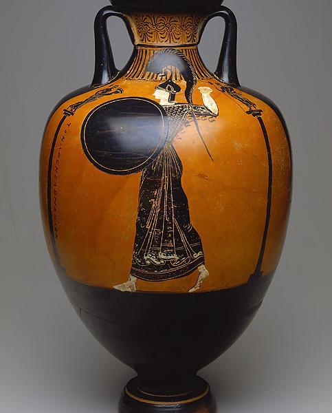 Alternate side of a Panathenaic amphora showing Athena. ca. 375/370 B.C.