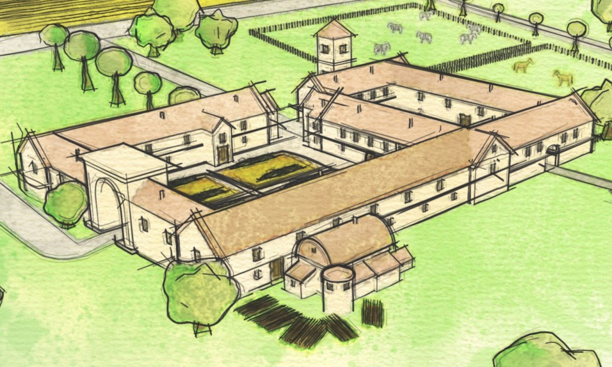 Artist's impression of the Roman villa found in Wiltshire. Image Credit: Manifesto/Historic England.