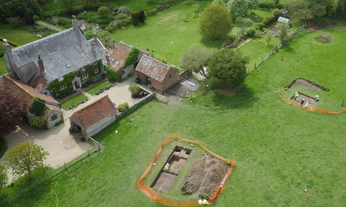 Test pits in front of the Irwins home. Photo Credit: Aerial Filming Services Ltd/Past Landscapes Project/PA Wire.