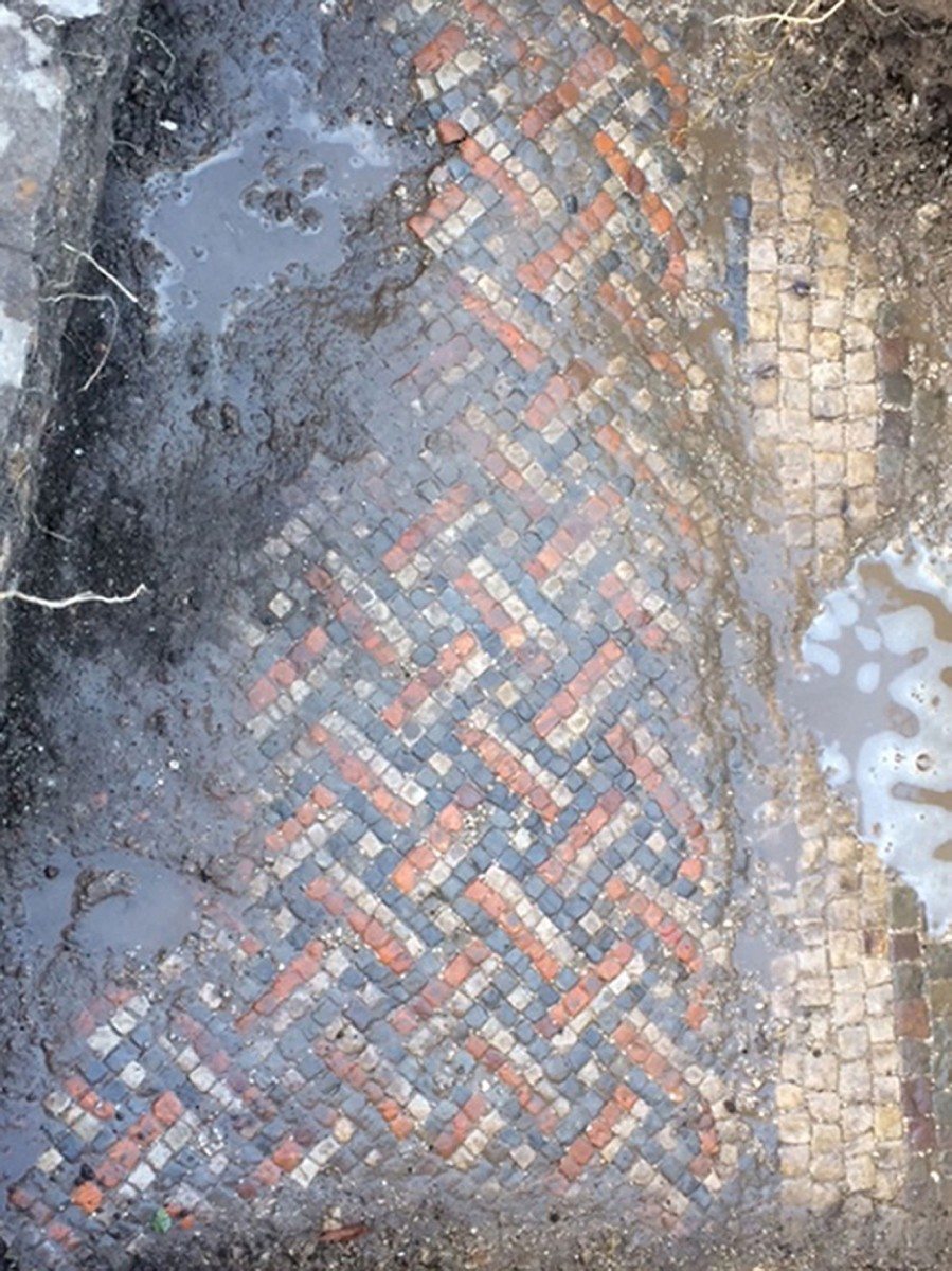 A view of the Mosaic found at the Wiltshire home. Photo Credit: Wiltshire Archaeological Service.