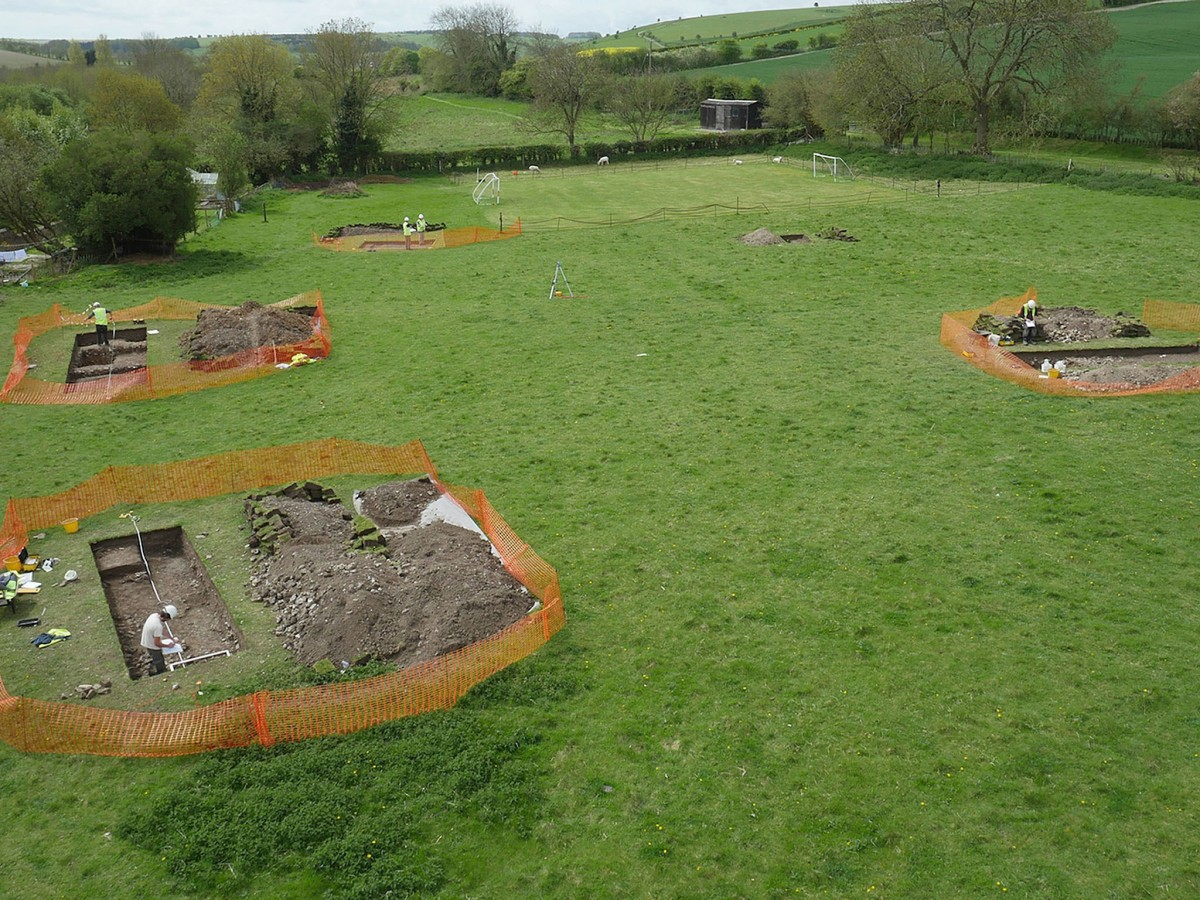 Another view of the test pits that revealed the Roman villa. The trenches were backfilled so that the material will be preserved. Photo Credit:  Aerial Filming Services Ltd/Past Landscapes Project/PA Wire.