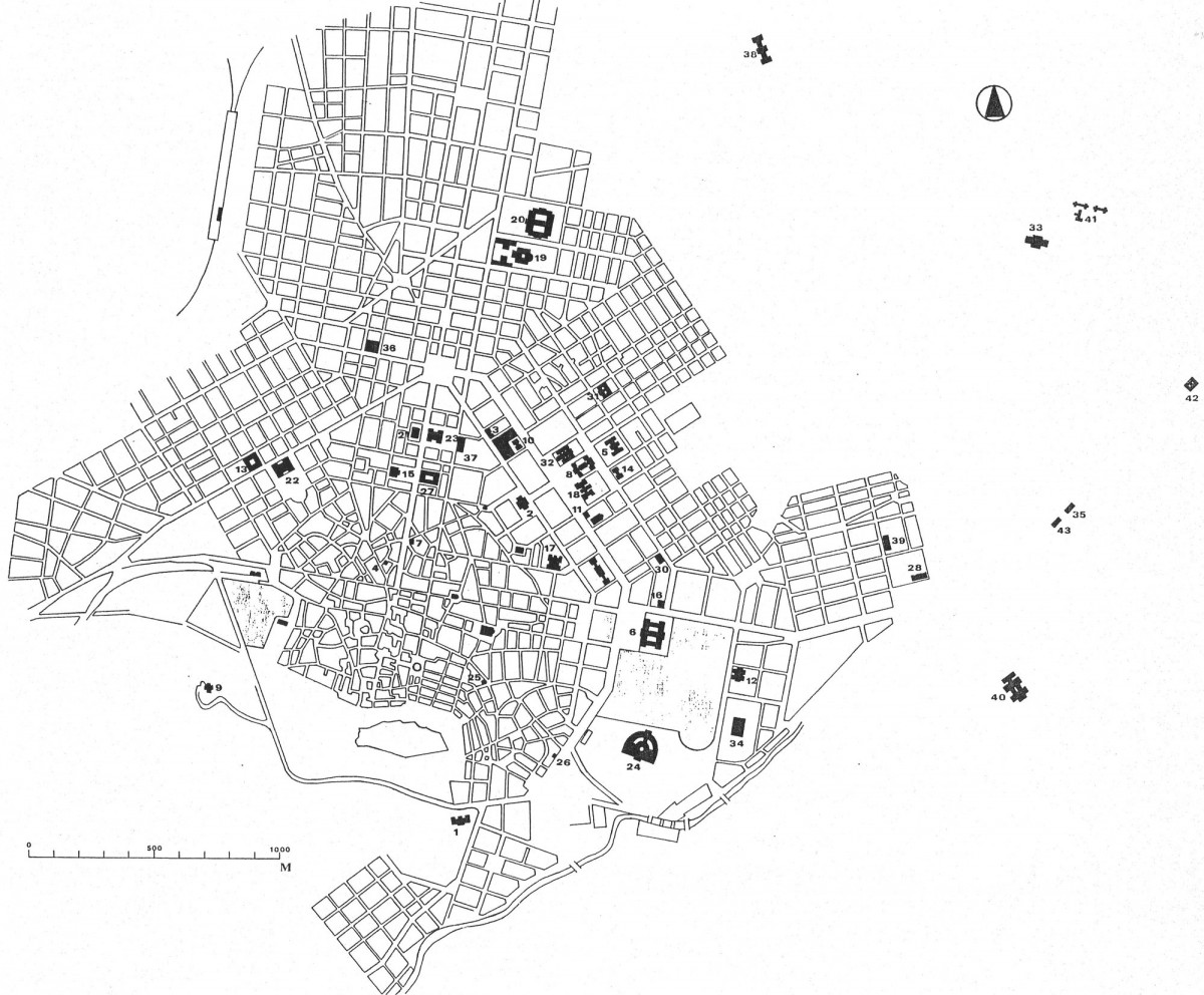Fig. 4. Athens towards the end of the reign of George I (1863-1913). The public buildings are numbered in chronological order (plan by D. Roubien). See legends of figures.