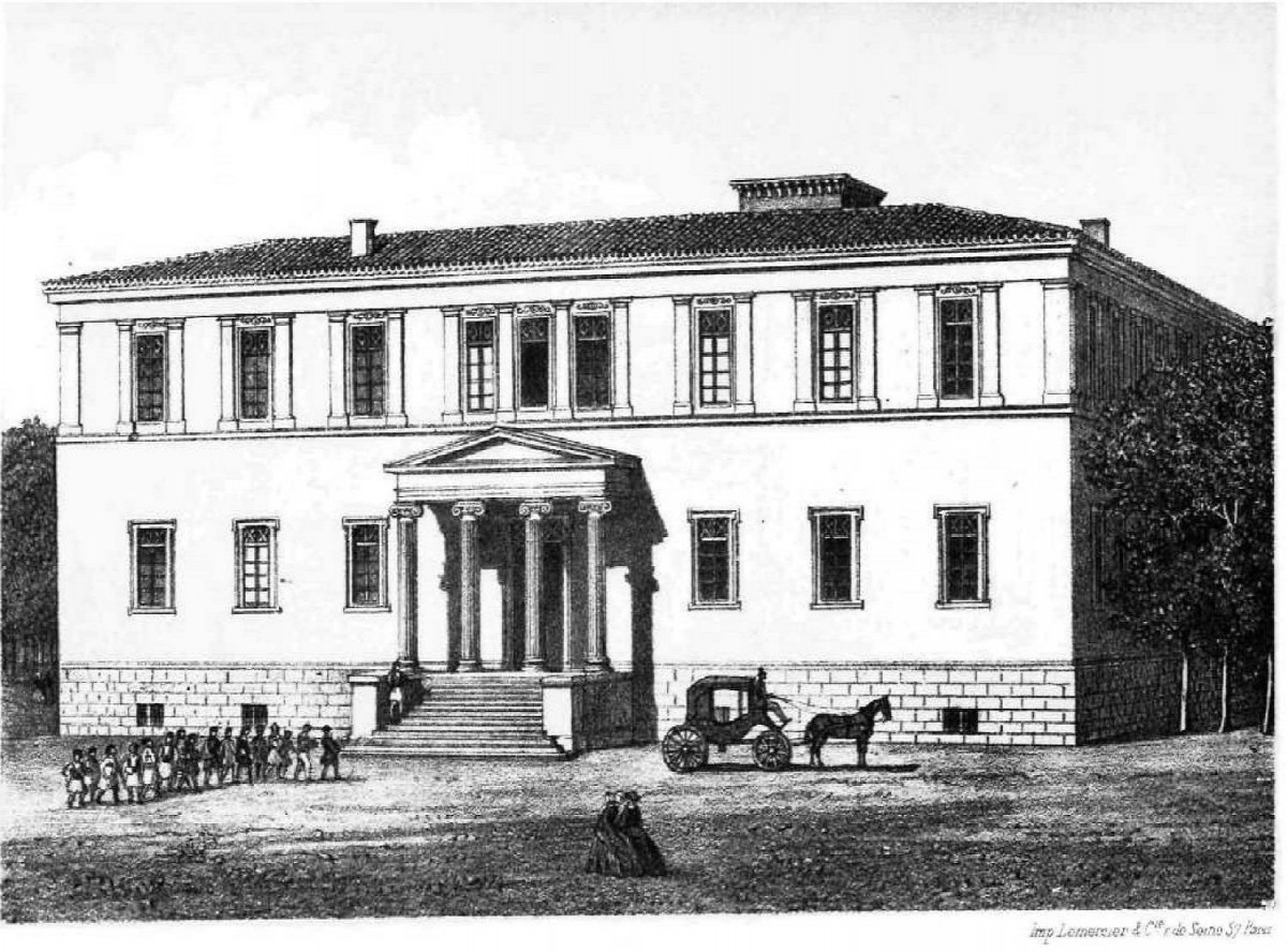 Fig. 5. Engraving of the Varvakeion (Μαρίνος Παπαδόπουλος-Βρετός, «Τα νεώτερα μνημεία των Αθηνών», in Εθνικόν Ημερολόγιον (National Diary), vol. 7, 1867, Athens, 1867).