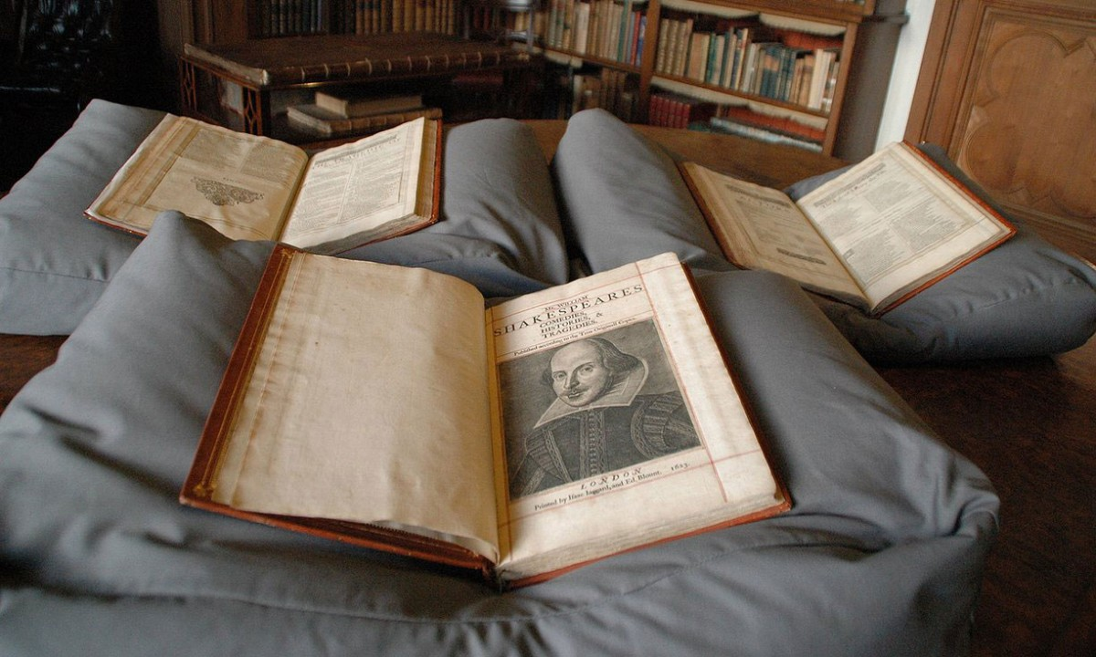 The copy of Shakespeare's first folio discovered at Mount Stuart on the Isle of Bute. The edition is unusual because it was bound in three volumes. Photo Credit: University of Oxford/PA/The Guardian.