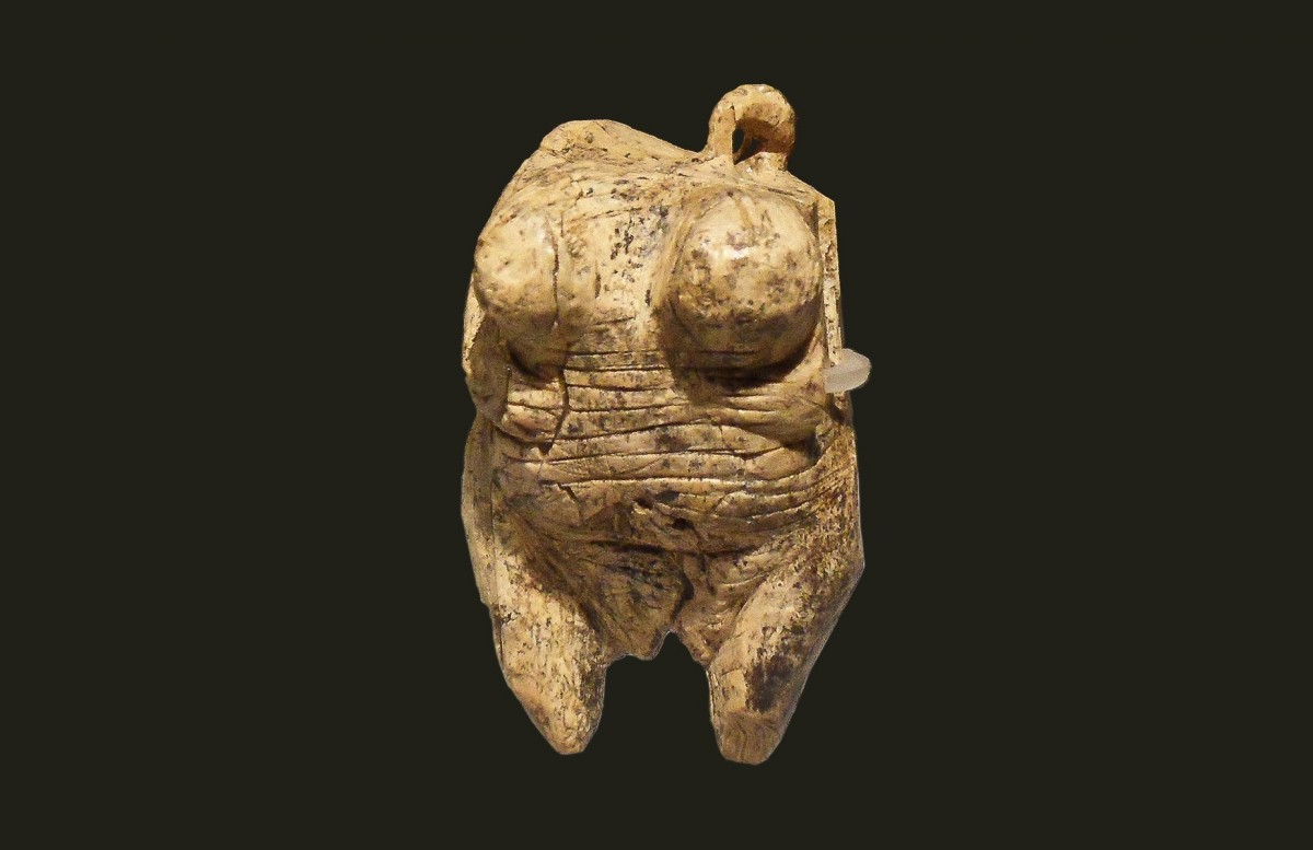 The Venus from Hohle Fels, a mammoth ivory, Aurignacian, aged about 35-40000 years. Widely regarded as the oldest undisputed example of human figurative prehistoric art yet discovered and therefore of human behavioural modernity.