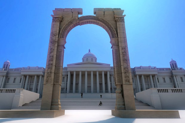 The replica of Palmyra's Arch of Triumph was made using 3D scans. Alexy Karenowska