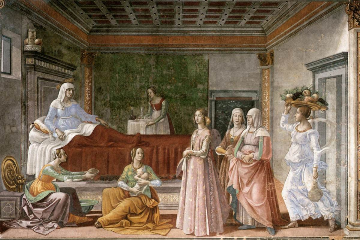 Birth of St John the Baptist 1486-90. Fresco, width 450 cm. Cappella Tornabuoni, Santa Maria Novella, Florence.