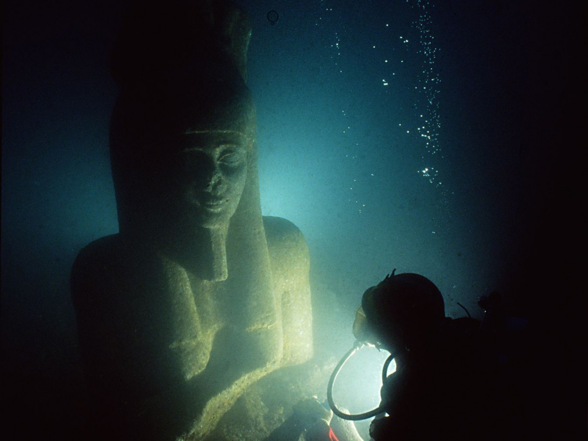 The exhibition focuses on two lost Egyptian cities and their recent rediscovery by archaeologists beneath the Mediterranean seabed.