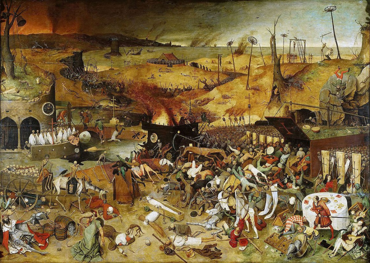 The Triumph of Death. Painting by Pieter Bruegel the Elder in 1562 that reflects on the ever-present threat of death in medieval Europe brought on by the Black Death.