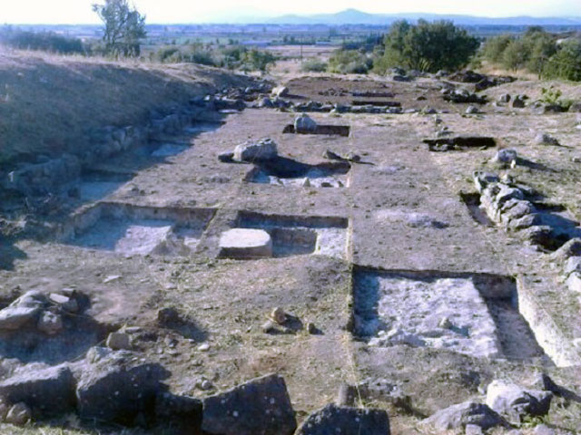 Fig. 1. Architectural remains of a large rectangular building with three stone bases of columns in its interior and a hall with pillars, probably the Council Chamber (Βουλευτήριο) of the Boeotian Koinon (Κοινό) (site A. Mylonopoulos excavation 2015).