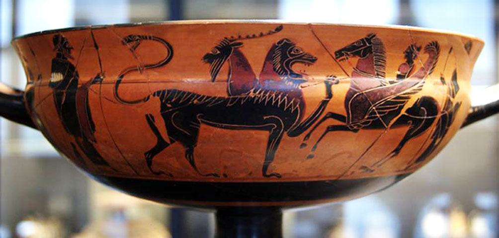 Fig. 1. Bellerophon, Pegasus and the battle with the Chimera. Attic black figure vase, 560-550 BC, from Kameiros. Attributed to the Painter of Heidelberg. Louvre Museum, Paris.