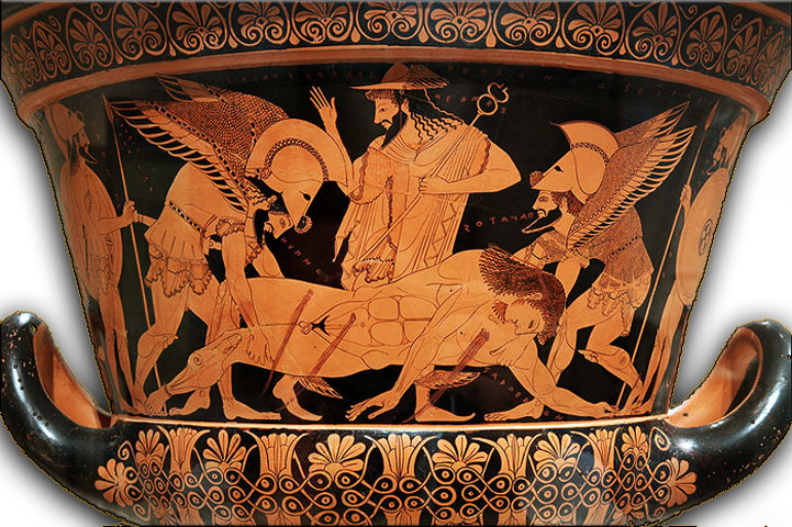 Fig. 3. The Euphronios Krater. Early 6th c. BC. The lifeless body of Sarpedon is depicted, after his duel with Patroclus. The body is being carried by the twin brothers Sleep (Ύπνος) and Death (Θάνατος) for the preparation of the hero's funeral. The Metropolitan Museum of Art, New York.