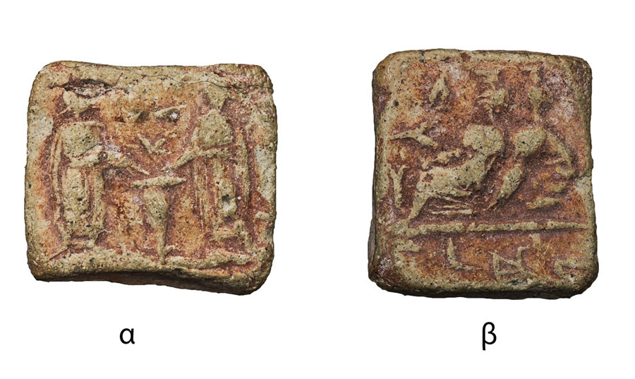 Fig. 3. Rectangular shaped token. 13x12 mm. Side a: Two human figures either side of an altar. Scene of incense offering. Side b: Two gods reclining on a couch. Scene of a sacred marriage. An inscription is on the exergue. (Numismatic Museum 235/2005).Epigraphic and Numismatic Museum, Athens. ©The copyright belongs to the Ministry of Culture and Sports.