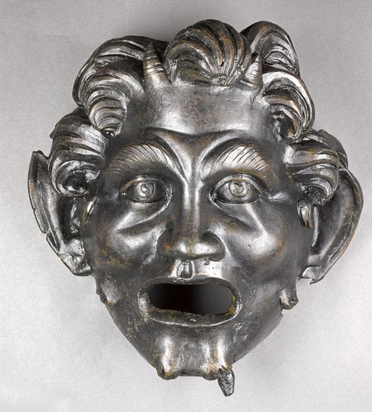 The bronze mask of Pan discovered near Hippos is unusually large compared to other such bronze masks of the Greek God that date from the same period. Credit: Dr. Michael Eisenberg/University of Haifa