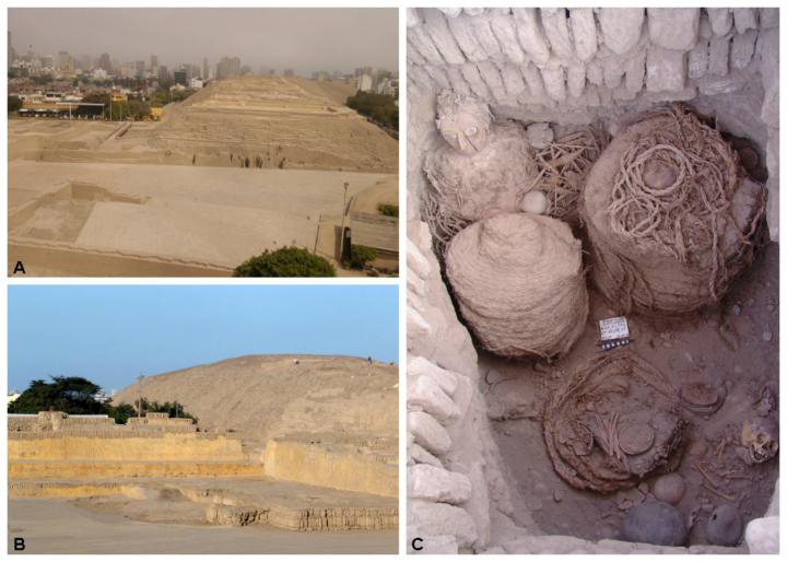 A-B shows view of the Huaca Pucllana archaeological site in Lima, Peru. C shows Wari funerary fardo 'La Dama de la Máscara.' Credit: Huaca Pucllana research. Conservation and revalorization project.