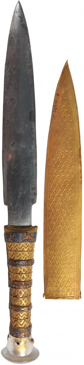 Color picture of the iron dagger with its gold sheath. The full length of the dagger is 34.2 cm. Photo Credit: Meteoritics and Planetary Science.