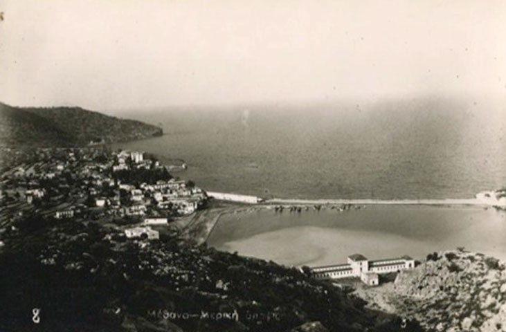 Fig. 1. Old photograph of Methana with traditional thermal baths building  (source: http://www.stampcircuit.com).