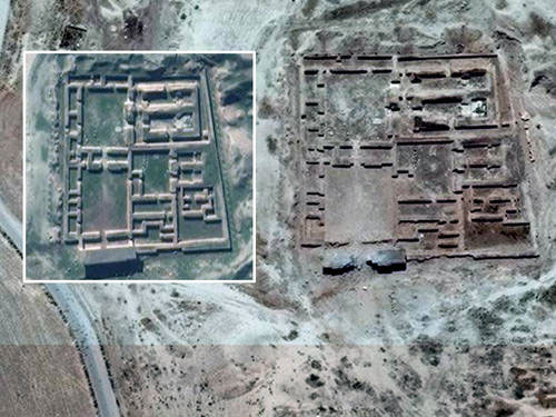 The United Nations training and research agency, Unitar, released satellite images taken on 3 June confirming the damage to the temple, which was built in the ninth century. Photo Credi: UNITAR-UNOSAT.