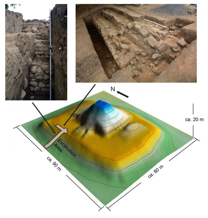 Topographic map of the Structure-5 of San Andrés site showing the excavation area with pictures of masonry architecture under the earthen architecture. Credit: Akira Ichikawa and Juan Manuel Guerra.