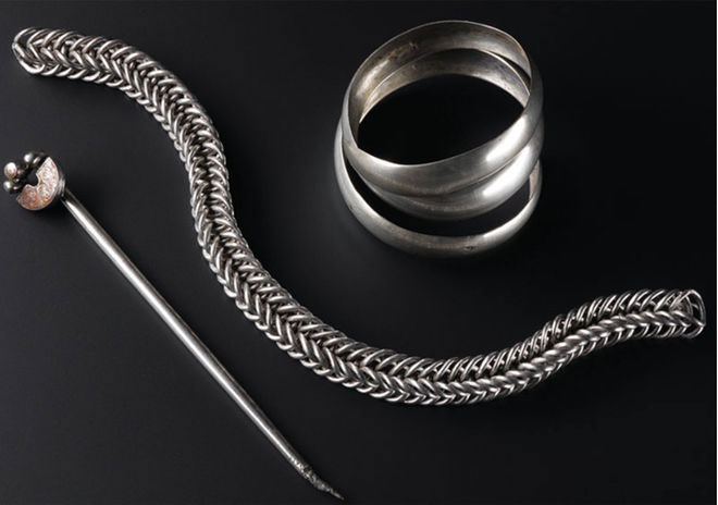 Hand pins, a chain and bangles were the three original artefacts found at the site more than a century ago. Photo Credit: Live Science.