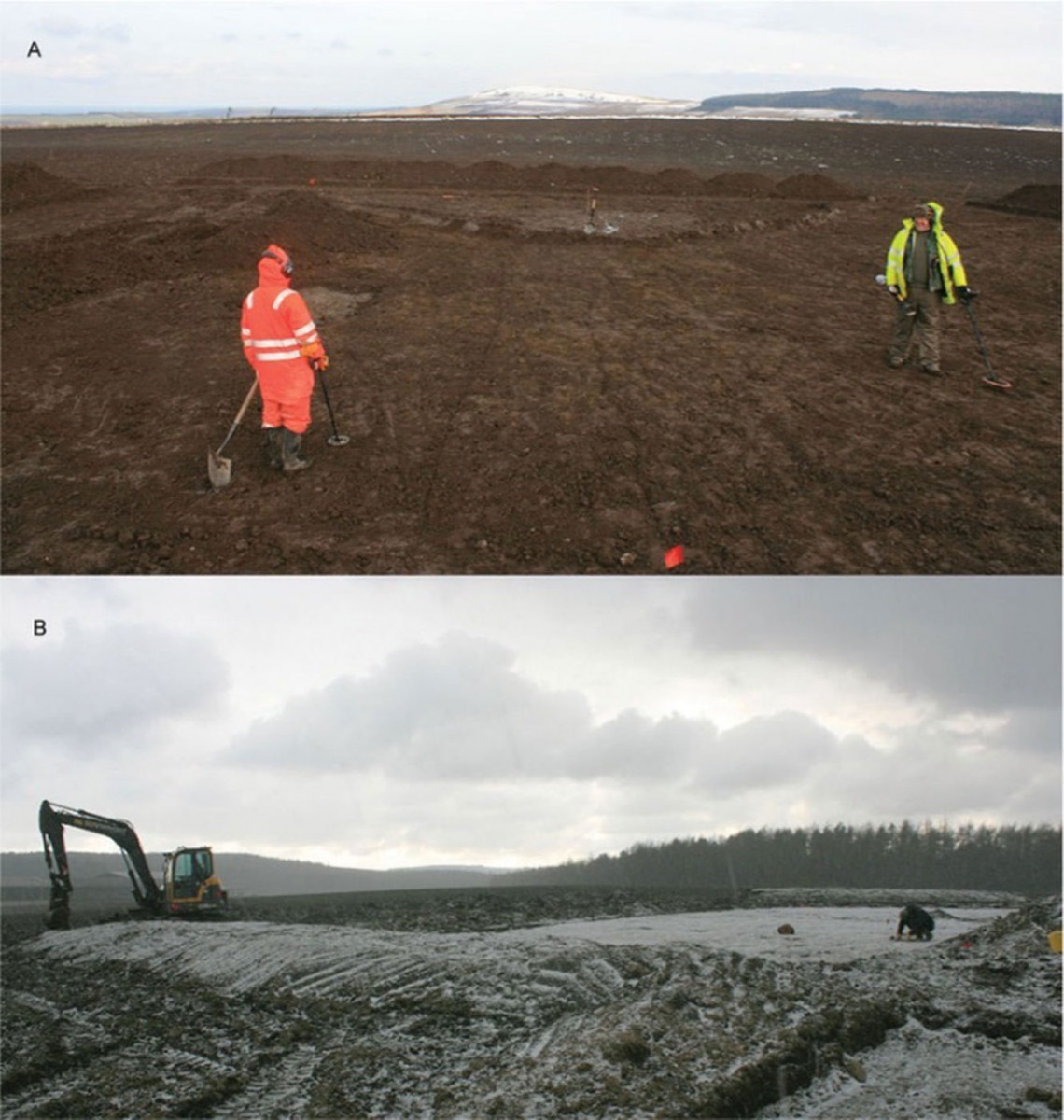 The archaeologists spent much of the winter excavating the field in Scotland. Photo Credit: Live Science.