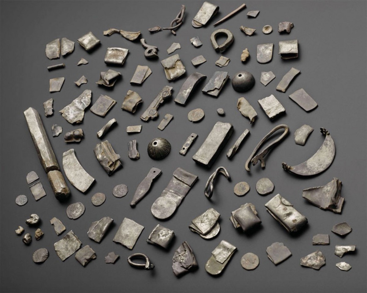 The entire silver hoard (except for the three pieces discovered in 1838) on display. Photo Credit: Live Science.
