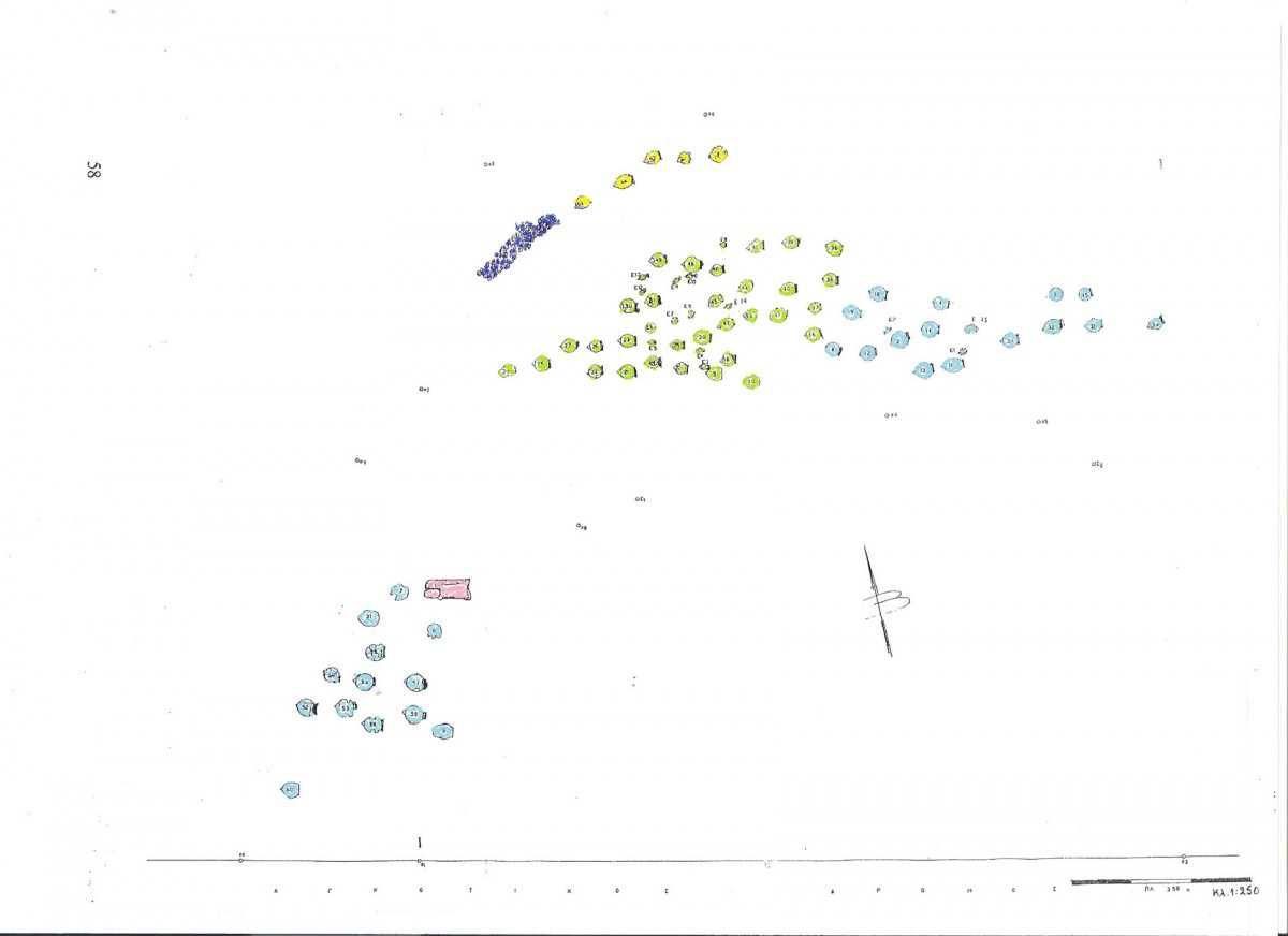 Fig. 2. Plan of the cemetery at the site of Triantafyllia Livanates, on the plot owned by G. Karaiskos. Cluster A shows Late Archaic graves in yellow, B shows those of the Classical era in green, and the Hellenistic graves are marked blue in clusters B and C. Pink marks the only cremation. (Ground plan from the archive of the 14th Ephorate of Prehistoric and Classical Antiquities).