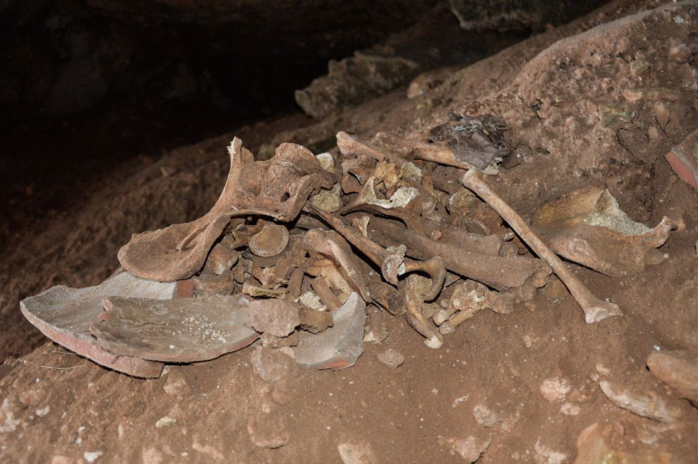The bones were found inside a shattered Roman clay jar inside the Grotta delle Capre. Phot Credit: Repubblica/The Archaeology News Netowrk.