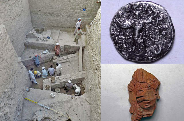 The excavation in Bazira and finds, including coin and female figurine.