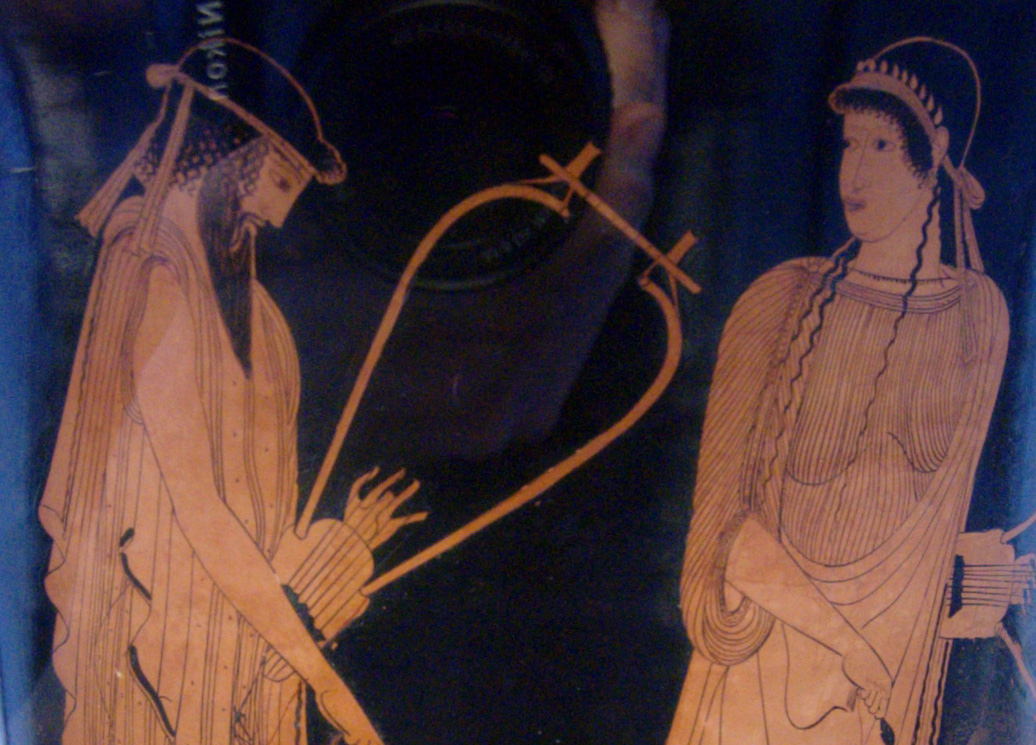Alcaeus and Sappho. Side A of an Attic red-figure kalathos, ca. 470 BC. From Akragas (Sicily). Brygos Painter.  Staatliche Antikensammlungen.