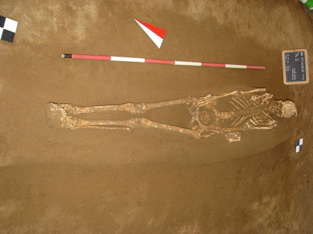 A skeleton found in one of the graves. Photo Credit: Archaeological Superintendency Rome/The Local.