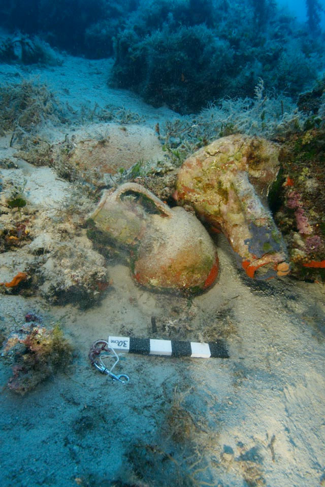 Knidian amphorae from a shipwreck at Agios Minas at Fourni.