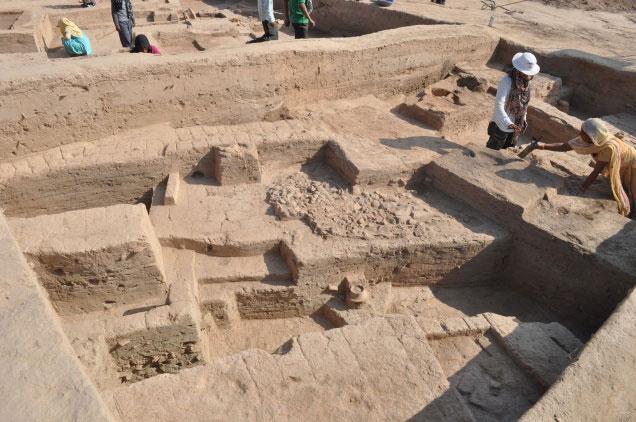 Platforms made of mud bricks, at varying levels. Photo Credit: V. Vedachalam/Frontline.