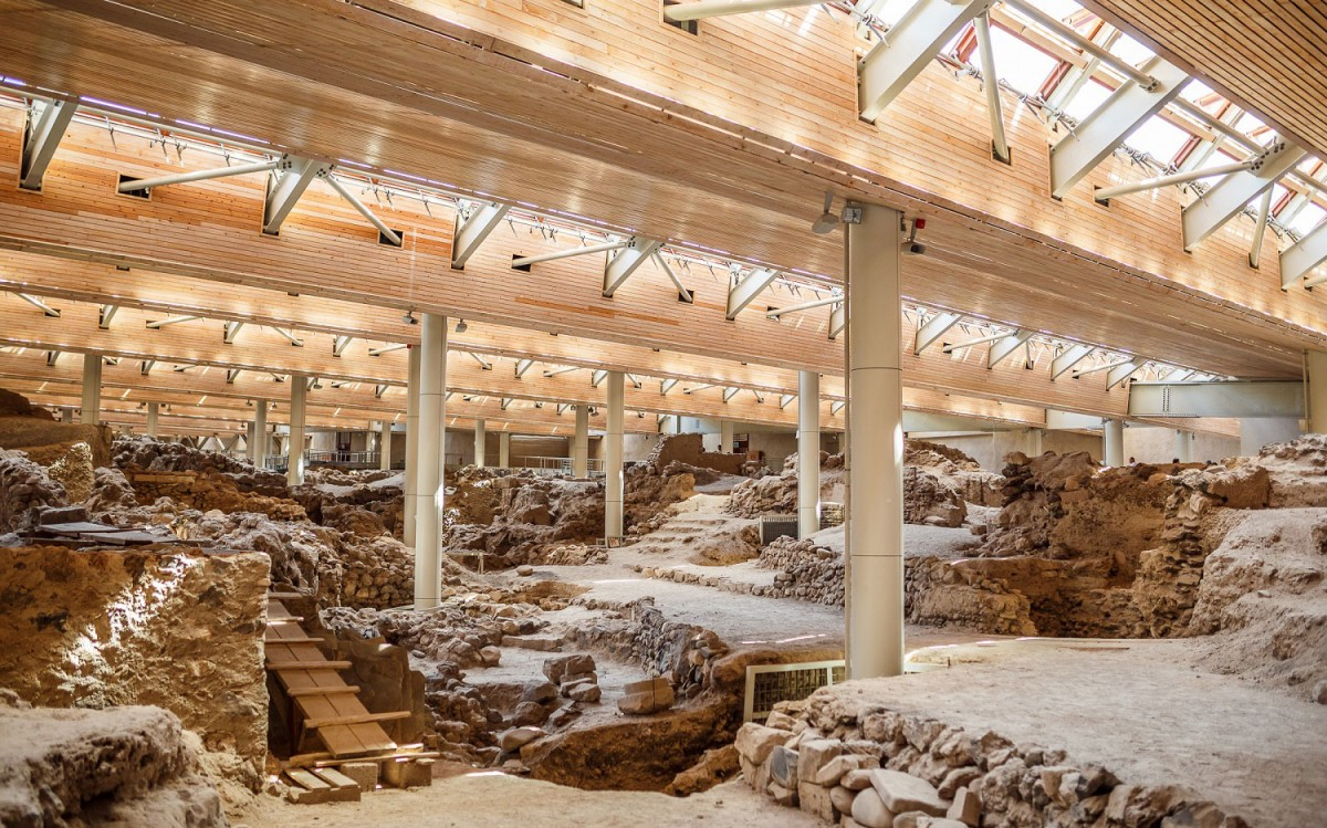 The archaeological site at Akrotiri had remained closed for a long time when part of the roof had collapsed. Photo Credit: Kaspersky Lab.