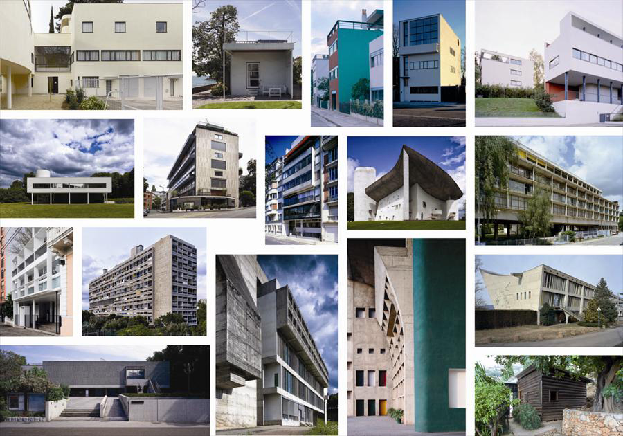 The 17 buildings of Le Corbusier, inscribed on the World Heritage List. Credit: Fondation Le Corbusier.