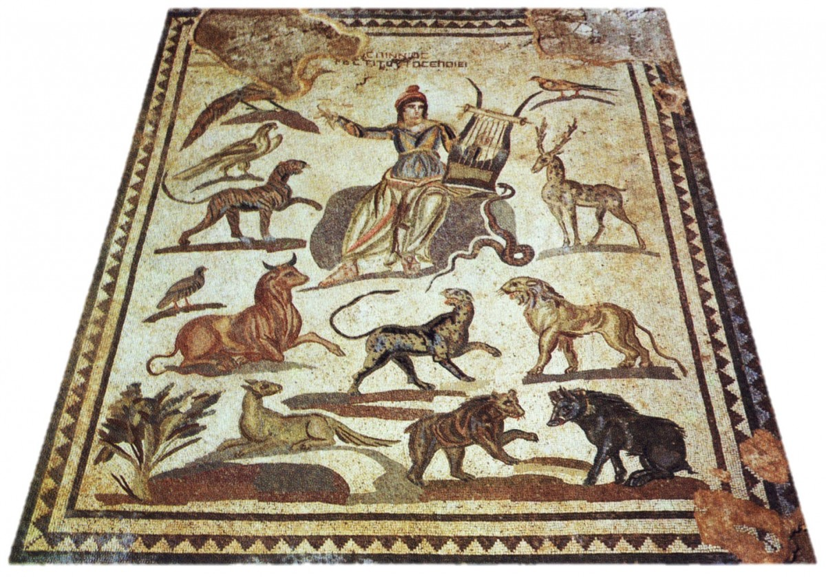 Orpheus and the beasts. Floor mosaic. Nea Paphos, House of Orpheus, 2nd-3rd c. AD  (from W. A. Daszewski, 1989, Ὁδηγὸς ψηφιδωτῶν Πάφου. Cyprus: Cultural Foundation of Cuprus & Department of Antiquities).