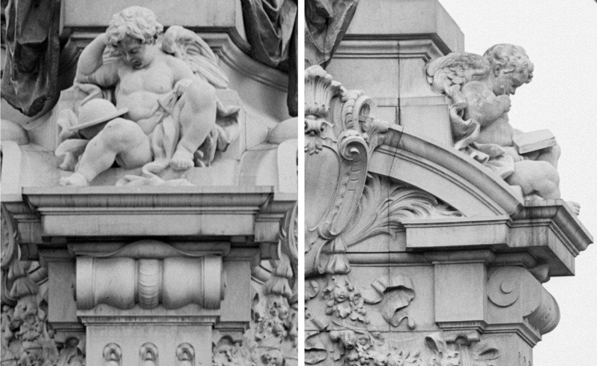 Fig. 12. Detail of the pedestal. Nude infants symbolizing science and literature.