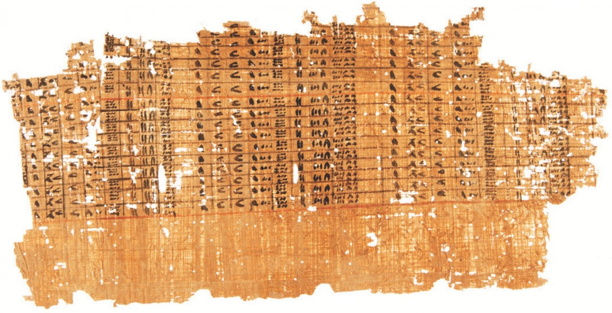 A papyrus with a detailed accounting table. Photo Credit: G. Pollin/The History Blog.